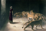 Daniel in the Lions Den  Mezzotint by J B Pratt  with Hand Colouring
