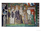 Empress Theodora with Her Court of Two Ministers and Seven Women  circa 547 AD