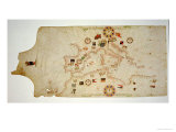 Miniature Nautical Map of the Central Mediterranean  1560