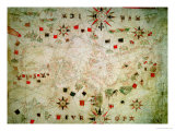 Miniature Nautical Map of the Mediterranean  1584