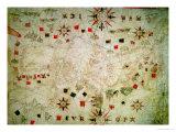 Miniature Nautical Map of the Mediterranean  1584