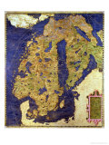Map of Sixteenth Century Scandinavia  from the &quot;Sala Delle Carte Geografiche&quot;