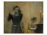 Clara Schumann and a Violinist  1854