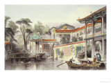 "House of Conseequa  a Chinese Merchant  in the Suburbs of Canton  from ""China in a Series of Views"""
