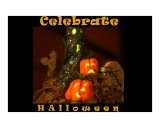 Celebrate Halloween Pumpkins Graveyard Haunted Watercolor Poster