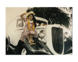 hawaiian girl on vintage car