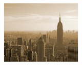 View of Empire State Building and Manhattan Skyline - New York  Sepia Black and White