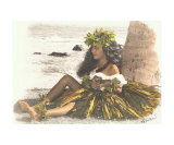 hawaiian girl leaning on palm tree  playing ukulele
