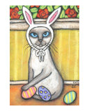 Siamese Cat Dressed As The Easter Bunny