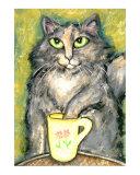 Calico Tortie Cat Drinking Tea