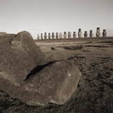 Row of Moai statues  Easter Island  Chile