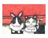 Tuxedo Kitty Cat and Bunny Rabbit Friends