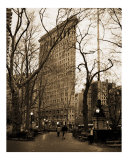 Madison Square Park  Flatiron Building bkgrnd Manhattan-New York - Sepia-Black & White Photograph