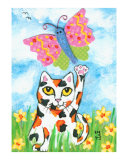 Calico Cat With Butterfly