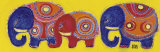 Family of Elephants in Yellow