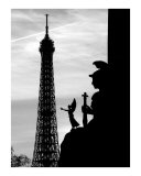 Eiffel Tower with Statue Silhouettes