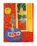 Red Interior  Still Life on Blue Table  c1947