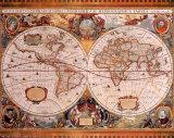Antique Map, Geographica, c.1630 Reproduction d'art par Henricus Hondius