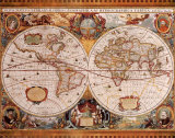 Antique Map, Geographica, c.1630 Reproduction d'art par Henricus Hondius