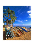Surfboards on Waikiki Beach