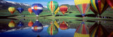Reflection of Hot Air Balloons on Water  Colorado  USA