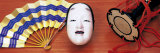 Noh Mask Japanese Hand Drum and Fan