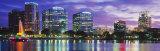 Panoramic View of an Urban Skyline at Night  Orlando  Florida  USA
