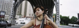 Young Woman Playing a Cello  New York City  NYC  New York State  USA