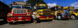 Buses Parked in a Row at a Bus Station  Antigua  Guatemala