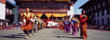 Folk Dancers in a Festival  Thimphu Tshechu  Thimphu Bhutan