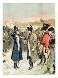 Napoleon Bonaparte Presenting the Female Officer  Marie Schellinck with a Medal on the Battlefield