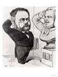 Caricature of Emile Zola Saluting a Bust of Honore de Balzac 1878