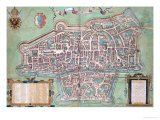 "Map of Augsburg  from ""Civitates Orbis Terrarum"" by Georg Braun and Frans Hogenberg  circa 1572"