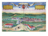 "Map of Cordoba  from ""Civitates Orbis Terrarum"" by Georg Braun and Frans Hogenberg circa 1572-1617"