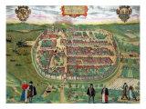 "Map of Barth  from ""Civitates Orbis Terrarum"" by Georg Braun and Frans Hogenberg circa 1572-1617"