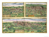Map of Montpellier  Tours  and Poitiers  from Civitates Orbis Terrarum by Braun and Hogenberg  1572