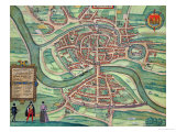 "Map of Bristol  from ""Civitates Orbis Terrarum"" by Georg Braun and Frans Hogenberg circa 1572-1617"
