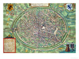 "Town Plan of Bruges  from ""Civitates Orbis Terrarum"" by Georg Braun and Frans Hogenburg  circa 1572"