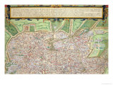 "Map of Rome  from ""Civitates Orbis Terrarum"" by Georg Braun and Frans Hogenberg circa 1572-1617"