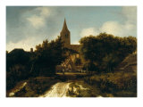Wooded Landscape with Figures Near a Church  circa 1660