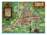 "Map of Cambridge  from ""Civitates Orbis Terrarum"" by Georg Braun and Frans Hogenberg  circa 1572"