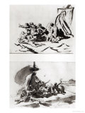 Two Sketches for the Raft of the Medusa  circa 1819