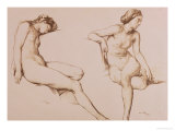 Sepia Drawing of Nude Woman  circa 1860