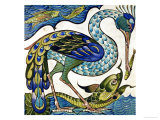 Tile Design of Heron and Fish  by Walter Crane
