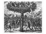 Indians in a Tree Hurling Projectiles at the Spanish