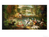 Hunting at the Saint-Jean Pond in the Forest of Compiegne  Before 1734