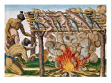 """How to Grill Animals  from """"Brevis Narratio""""  Published by Theodore de Bry  1591"""