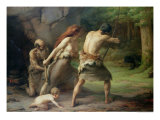 Prehistoric Man Hunting Bears  1832