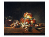 Still Life of Peaches  Nuts  Grapes and a Glass of Wine  1758