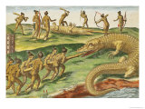 "Hunting Crocodiles  from ""Brevis Narratio"" 1563"